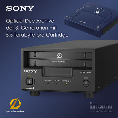 Sony Optical Disc Archive der 3. Generation mit 5,5 Terabyte pro Cartridge